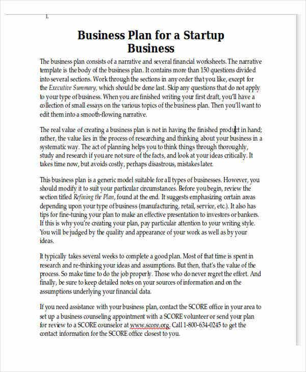 Personal Business Plan Template In Word