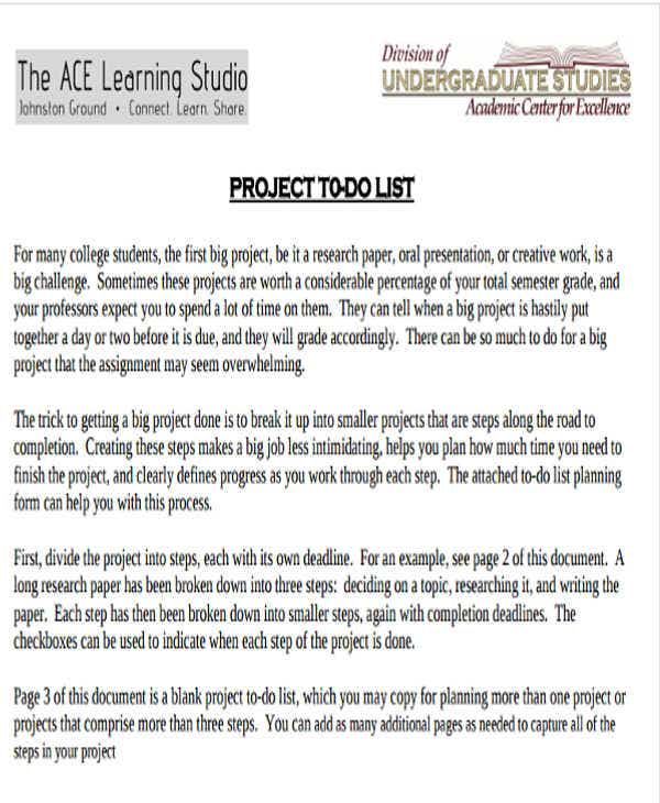 Project To Do List Templates   Free Word  Format Download