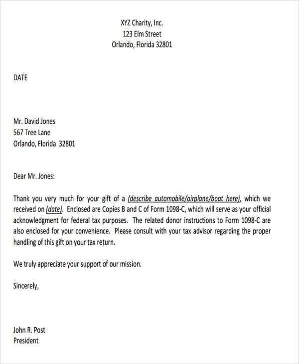 charitable donation acknowledgement letter template