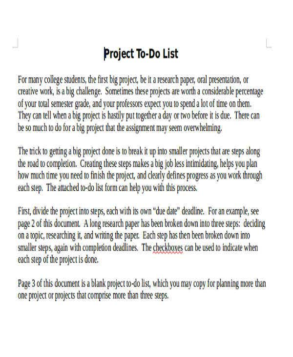 project plan to do list template