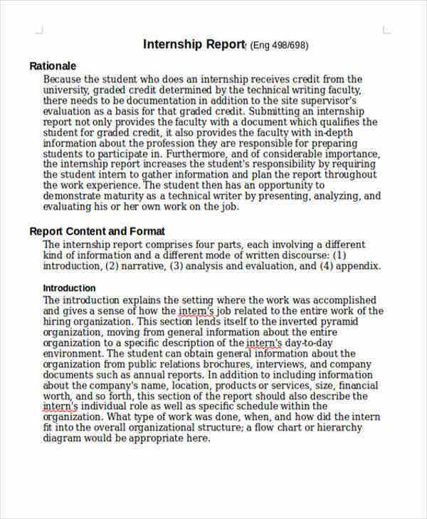Internship Student Report Templates 6 Free Word PDF Format – Internship Report Sample