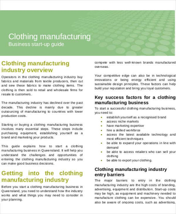 Manufacturing Business Plan Templates Free Word PDF Format - Clothing business plan template