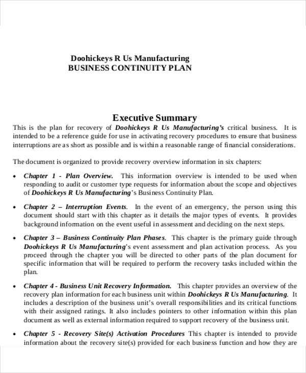 manufacturing business continuity plan template