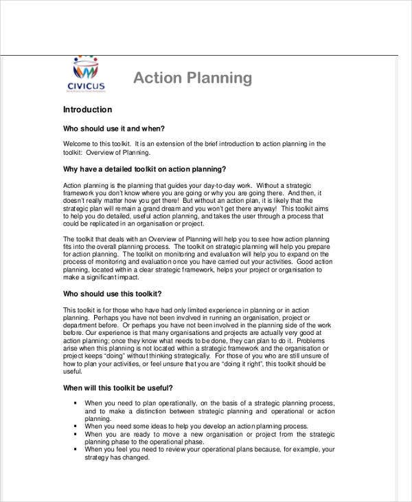 free action plan template word