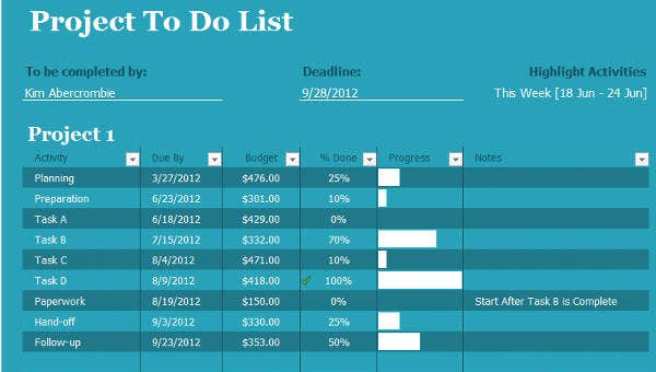 6 project to do list templates