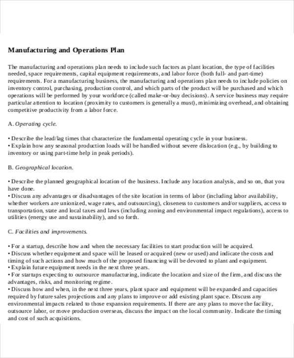 manufacturing and operation plan template