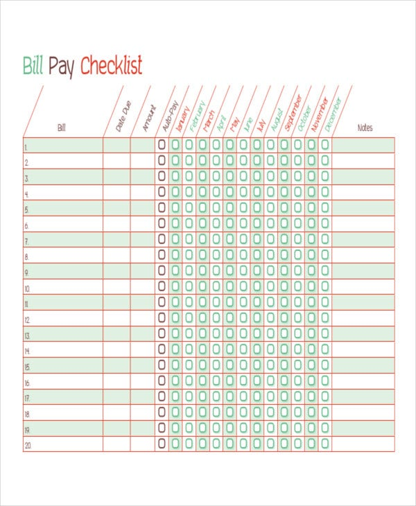 bill paying template