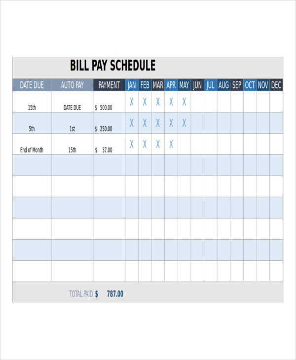 Monthly Bill Payment Schedule Template And Monthly Payment Template