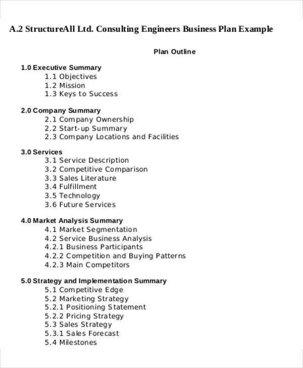 Consulting Business Plan Templates   Free Word Pdf Format