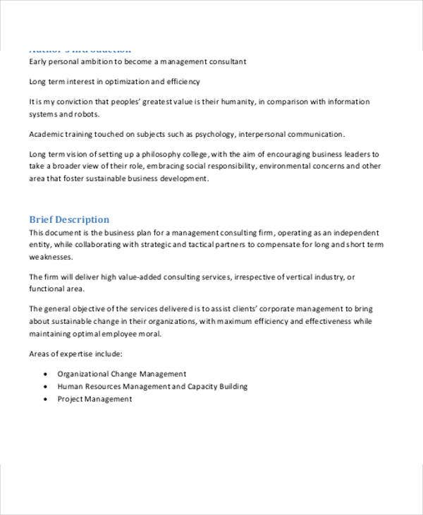 management consulting business plan template
