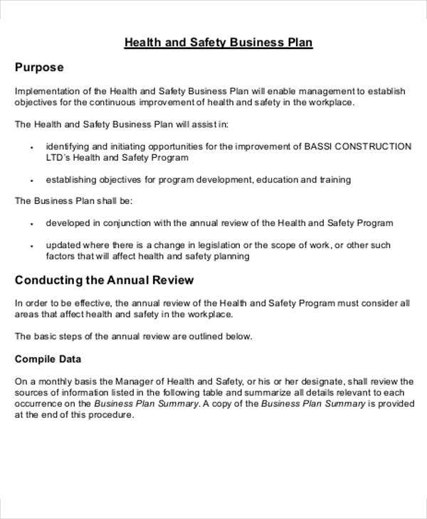 13 consulting business plan templates free word pdf for Health and safety statement of intent template