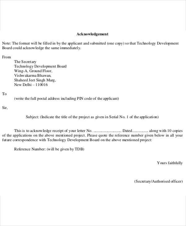 letter acknowledging receipt of proposal 5 business acknowledgement letter templates 5 free word 12956