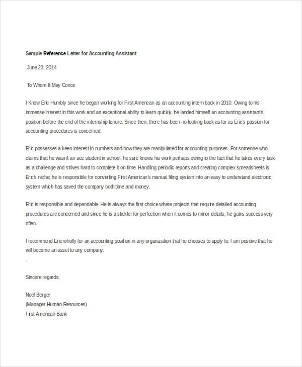 accountant reference letter templates