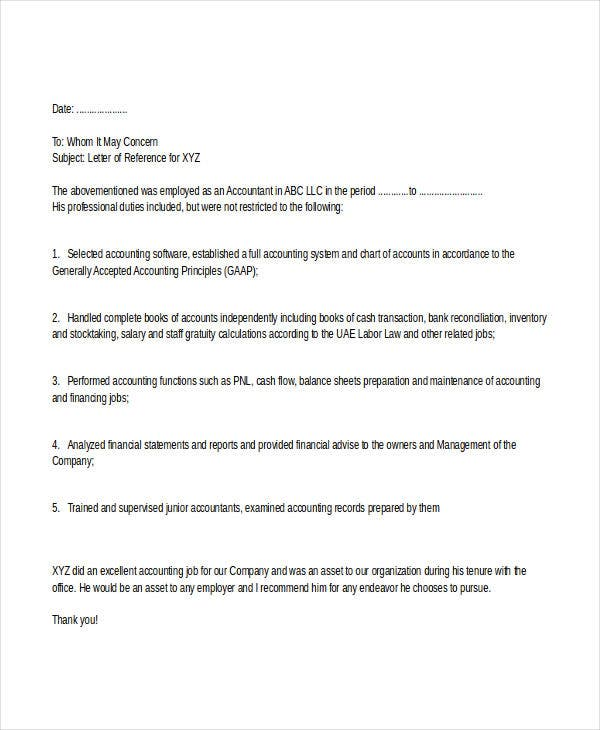 Financial Accountant Reference Letter Template