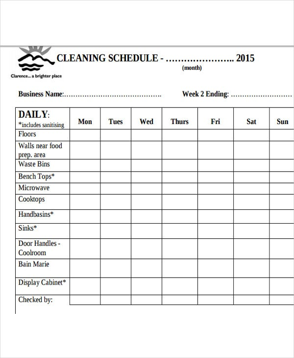 Restaurant Cleaning Schedule Templates  Free Word Pdf
