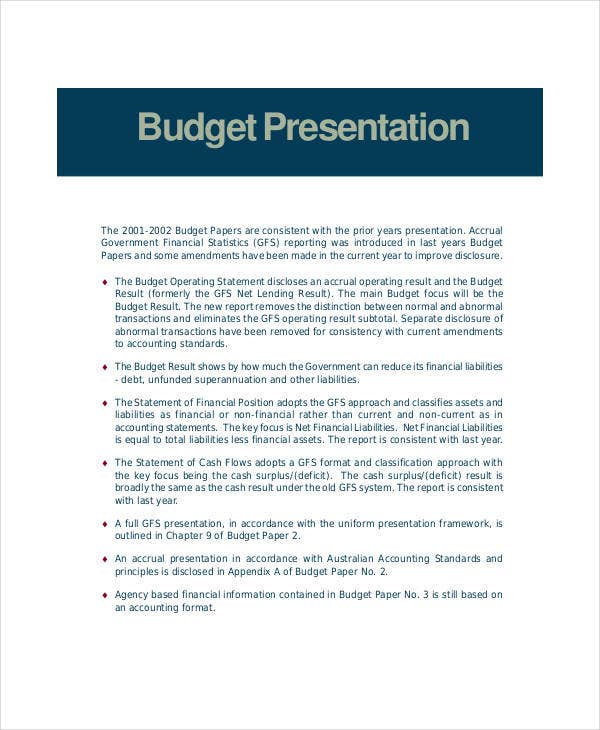 free budget presentation template