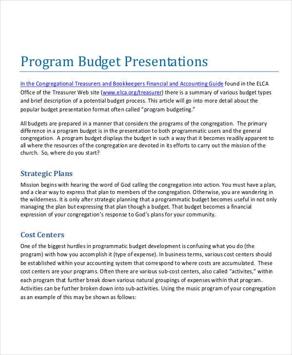 program budget presentation template