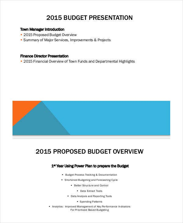 simple budget presentation template