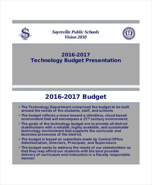 technology budget presentation template