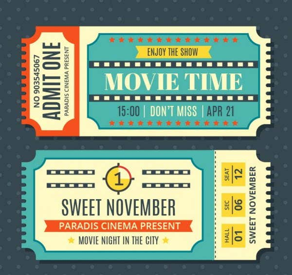 9 Vintage Ticket Templates Free PSD AI Vector EPS Format – Movie Ticket Template