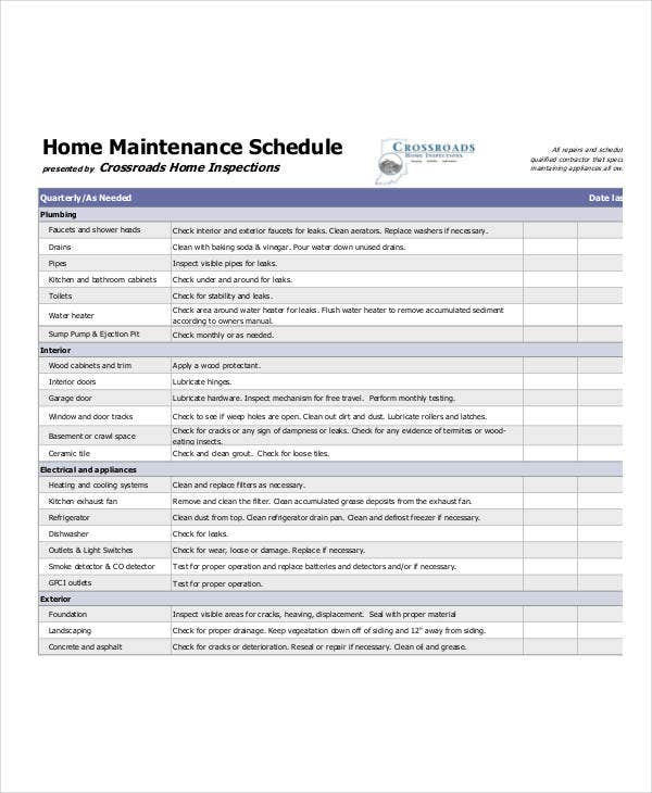 printable home maintenance schedule template