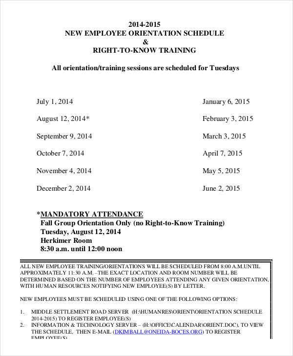 employee orientation training schedule template