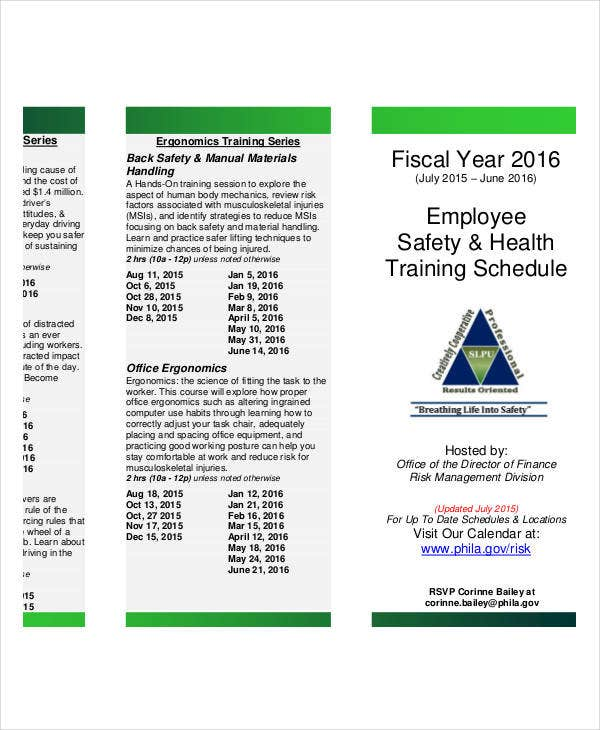 safety training calendar template - employee training schedule template 14 free word pdf