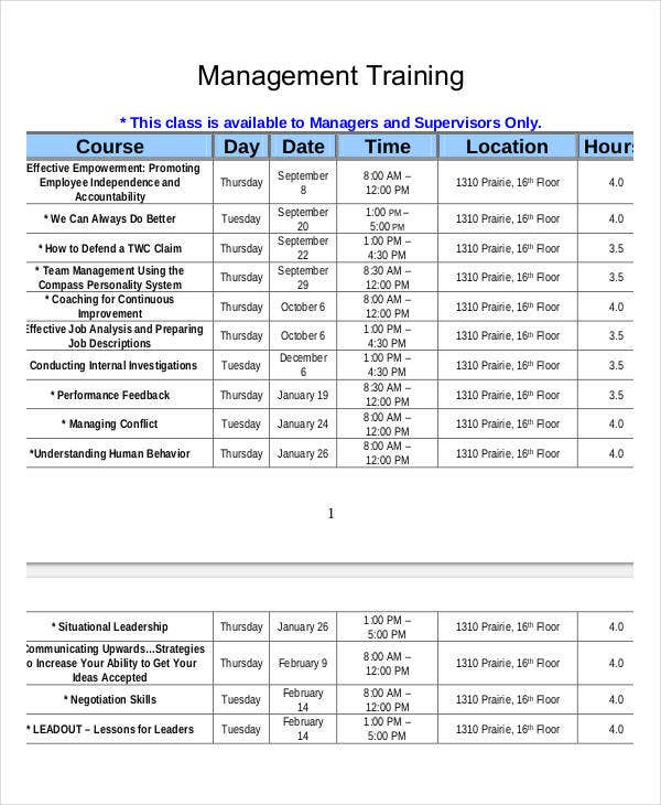 employee training class schedule template