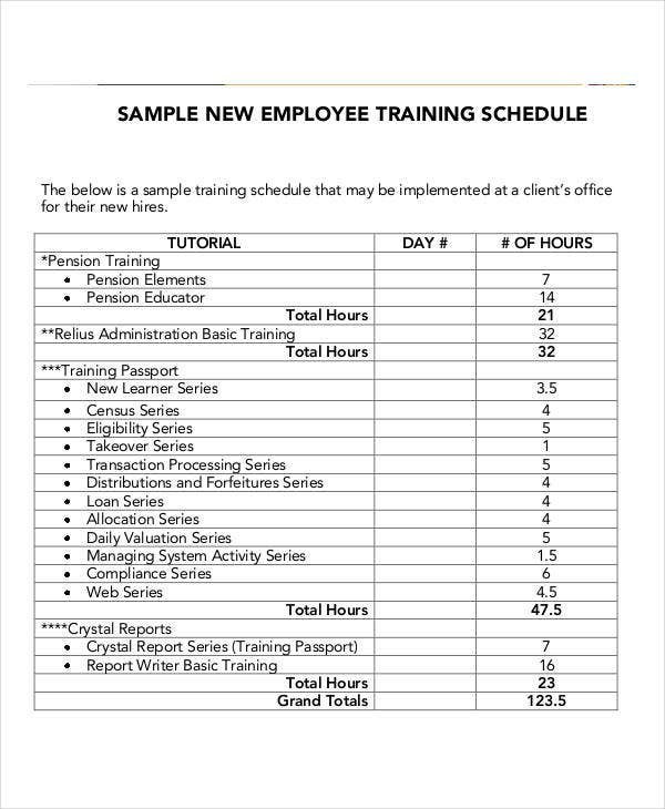 Training schedule template employee training class schedule employee training schedule templates 7 free word pdf format pronofoot35fo Choice Image