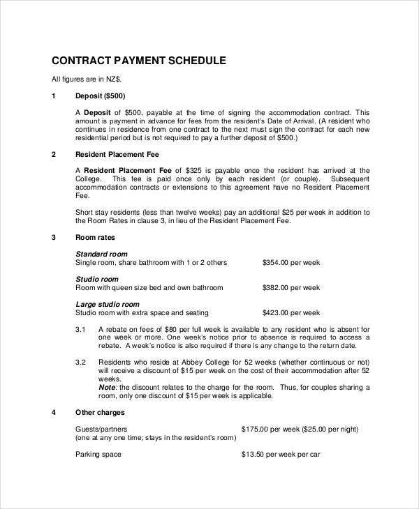 Contract Payment Schedule Templates   Free Word Pdf Format