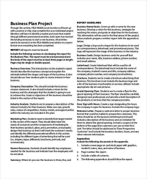 business plan project report template