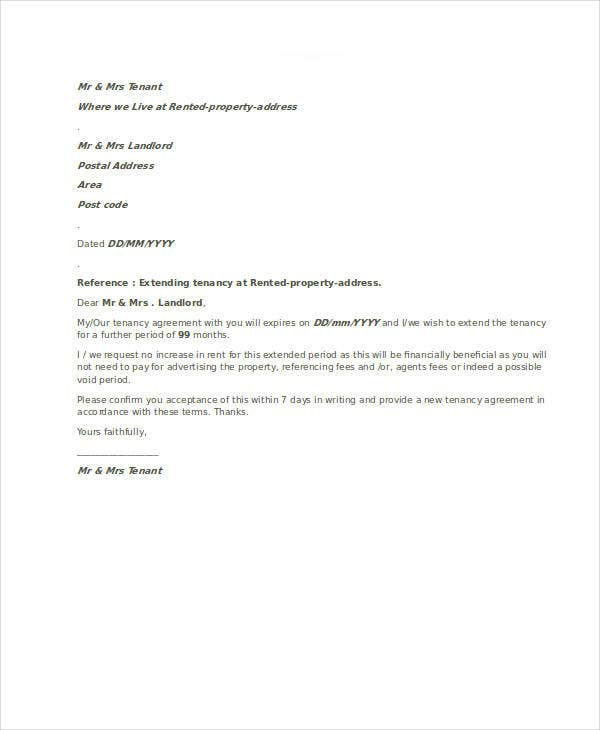 tenancy agreement letter template