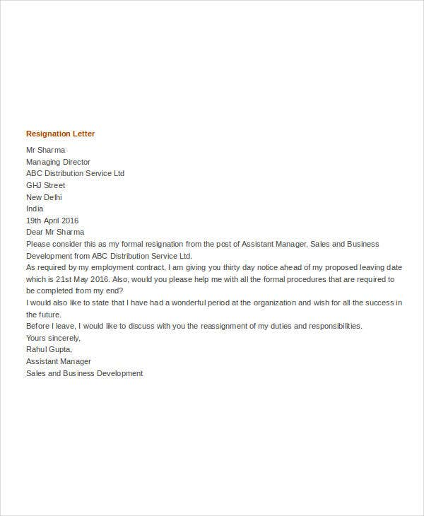 formal resignation letter template1