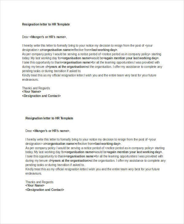 resignation letter to hr template