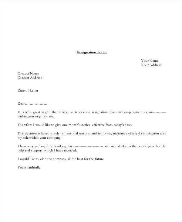 job resignation letter template