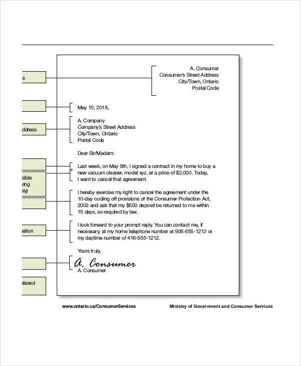 agreement cancellation letter template