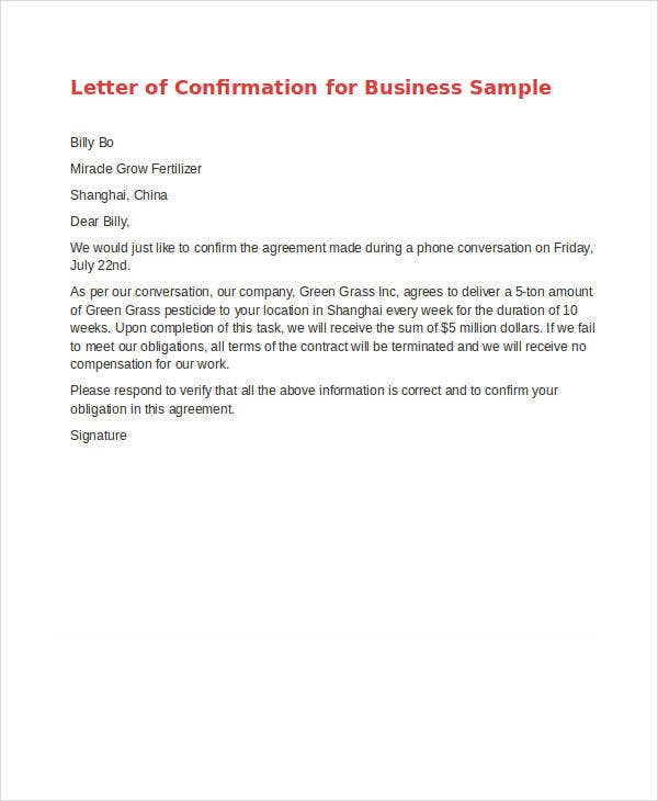 agreement confirmation letter template