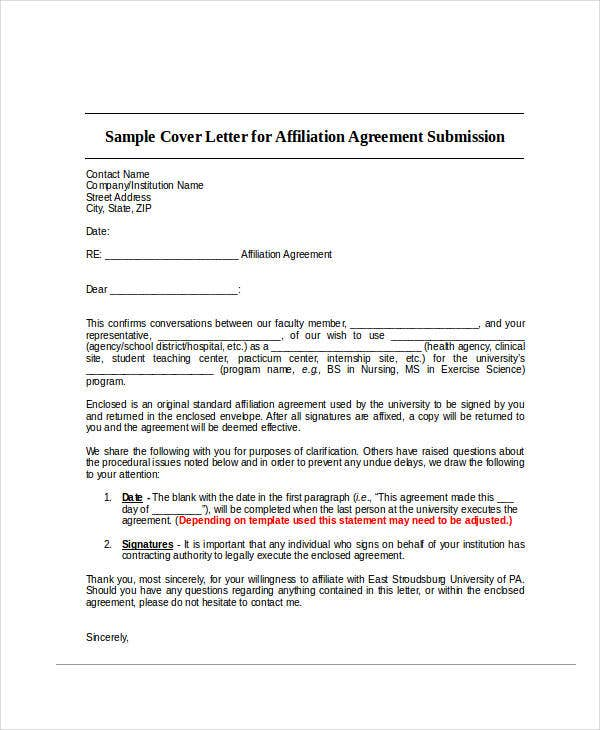 agreement cover letter template