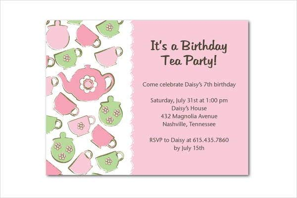 Tea Party Invitation   Design Template Sample Example  Free