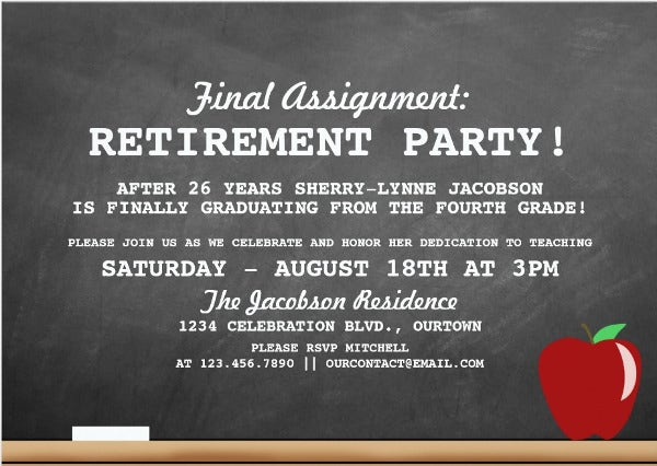 Retirement Party Invitation  Design Template Sample Example