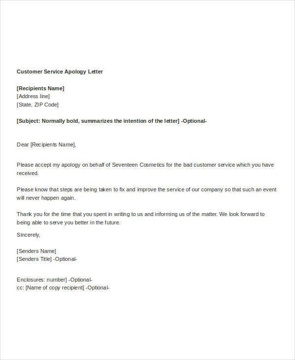 Example Of Apology Letter For Poor Customer Service