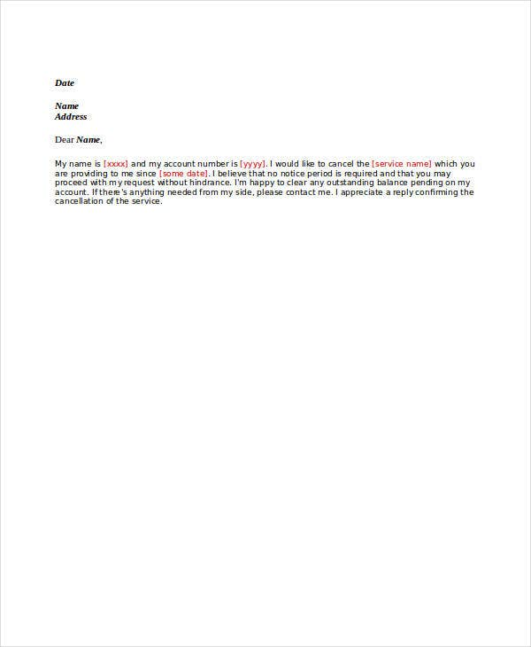 service cancellation letter template
