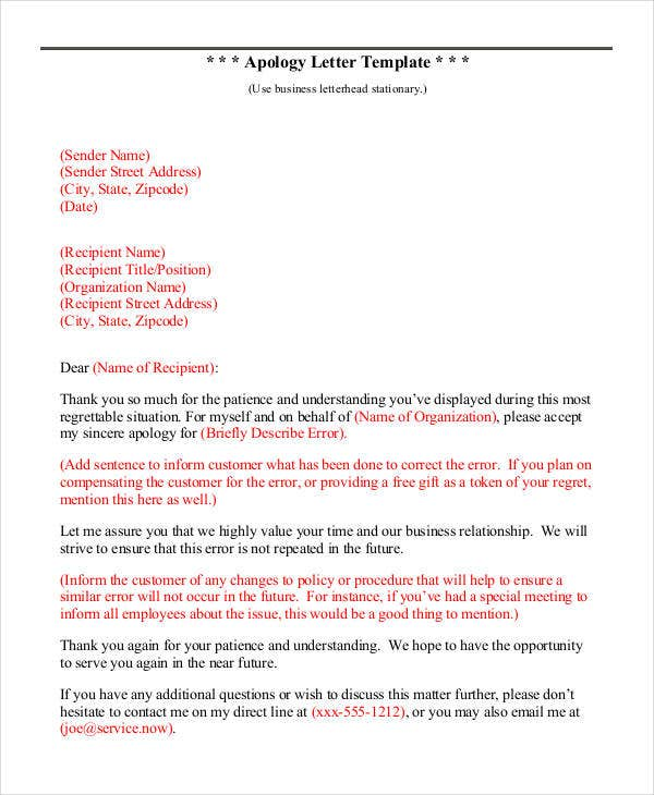 Apology Letter Format Template  Letter Of Apology Template