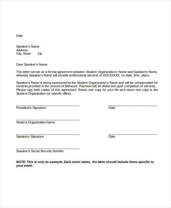 service agreement letter template
