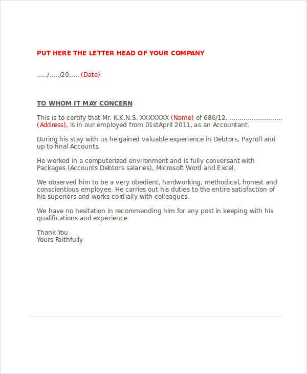 Service Letter Template   Free Sample Example Format Download