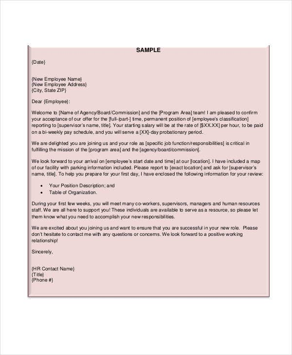 new employee letter template