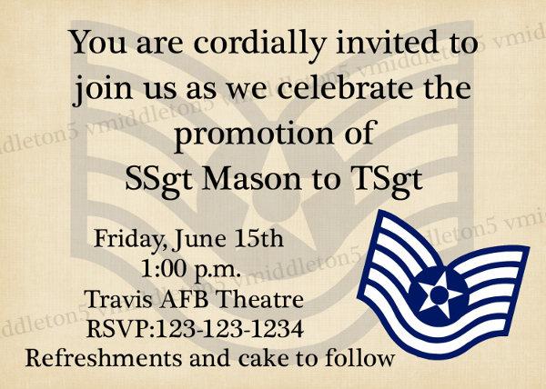 promotion ceremony invitation template