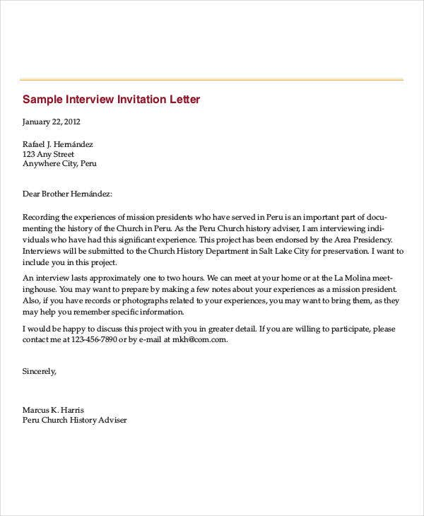 interview invitation letter template