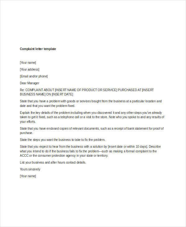 Complaint Letter Templates - 5+ Free Sample, Example Format Download ...