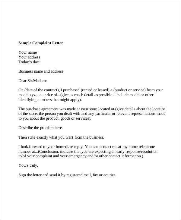 guidelines for writing a complaint letter